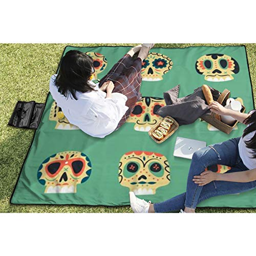 BigHappyShop Picnic Blanket Cute Ethnic Mexican Skulls Dead Day Symbols Collection Waterproof Extra Large Outdoor Mat Camping Or Travel Easy Carry Compact Tote Bag -