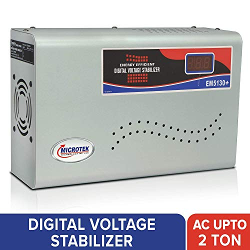 Microtek EM5130+ Automatic Voltage Stabilizer for AC up to 2 ton  130V 300V , Metallic Grey   Digital Display, Wall Mounted