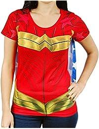 Costume Superhero Femmes Wonder Woman T-shirt Avec Le Cap-Rouge