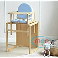 3 in 1 Baby Wooden High Chair with Play Table & Harness [Pink* Blue*] (Blue)