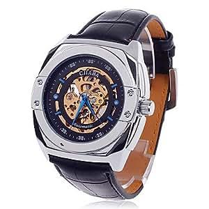 CJIABA GK8017 Double-Sided Skeleton Automatic montre-bracelet mécanique à vent Men - Noir + or + bleu