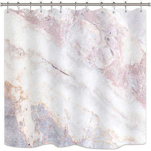 Riyidecor Marmor-Duschvorhang-Set, Oberfläche mit rissigem Muster, rosafarbene Streifen, weiße Paneele, realistische Kunst, bedruckter Stoff, wasserfest, für die Badewanne, Dekor, 12 Stück (Rosa Duschvorhang Set)