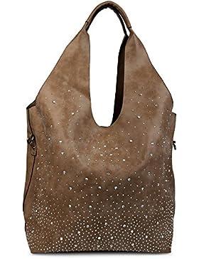 styleBREAKER Beutel Handtaschen Set mit Strassapplikation im Sternenhimmel Design, 2 Taschen, Shopper, Damen 02012031