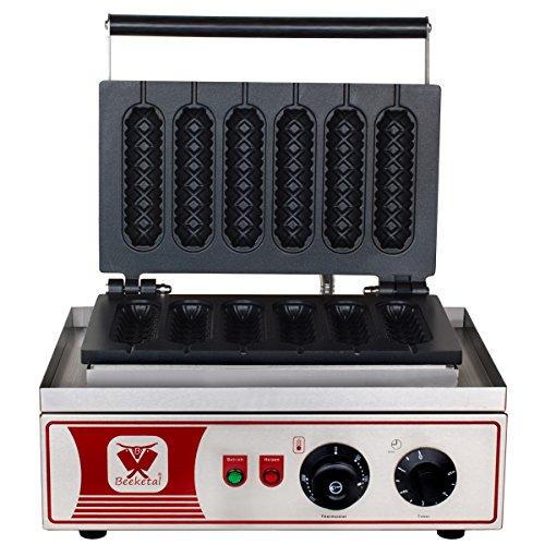 Beeketal 'BWA-9' Profi Gastro Stiel Waffeleisen für Waffeln am Stiel mit massiven Antihaft Gusseisen Backplatten, Waffelautomat für 6 Stielwaffeln mit Edelstahl Gehäuse, 50-300 °C stufenlos (Küche Gourmet-kaffee)