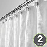 mDesign 2er-Set Luxus Duschvorhang aus Baumwollmischgewebe - cooler Duschvorhang mit Waffelmuster - pflegeleichter Badewannenvorhang - weiß