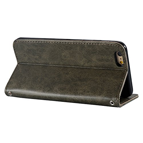 Custodia iPhone 6 Plus,Custodia iPhone 6S Plus, Cover iPhone 6 Plus/6S Plus, ikasus® iPhone 6 Plus/iPhone 6S Plus Custodia Cover [PU Leather] [Shock-Absorption] Goffratura Testa del cranio Modello Emb Grigio