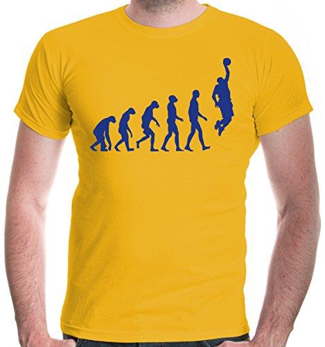 (buXsbaum Herren T-Shirt The Evolution of Basketball | Development Ballsport Fanshirt Trikot | M, Gelb)