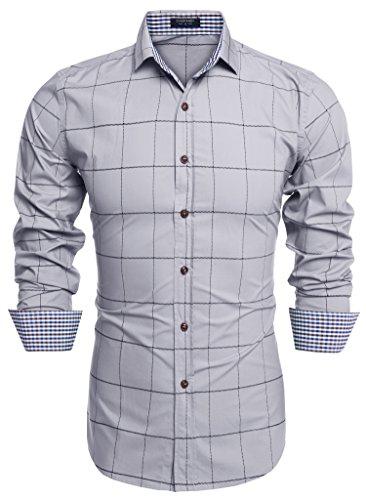 Schöne Sammlung (cooshional Herren Casual Slim Hemden Slim Fit Shirt Top schöne Sammlung lässigen Herrenhemden Hemden Silber L)