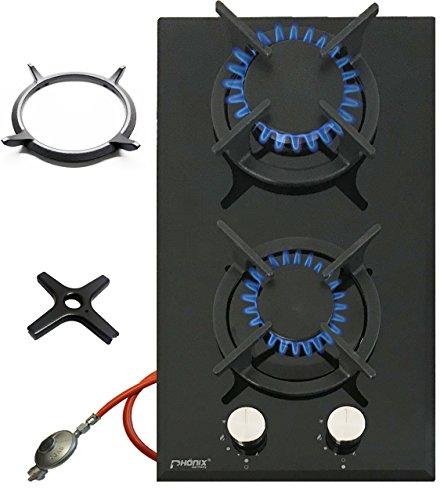 Phönix Domino-GT Gaskochfeld Glas Gaskocher 2 flammig, Guss Wok-Aufsatz + Herdkreuz