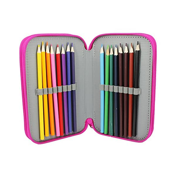 Starplast, Estuche Escolar Plumier, 3 Compartimentos, 16 Lápices de Colores, 16 Rotuladores de Colores, Regla, Sacapuntas, Goma, 3 Bolígrafos para Uso Escolar, Regalo, Diseño Letras Pretty Princess