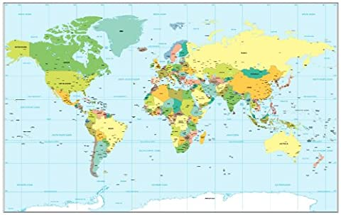 Supertogether World Map Wall Sticker - Large Map of the World Art Decal (Small - 68.5 x 43cm)