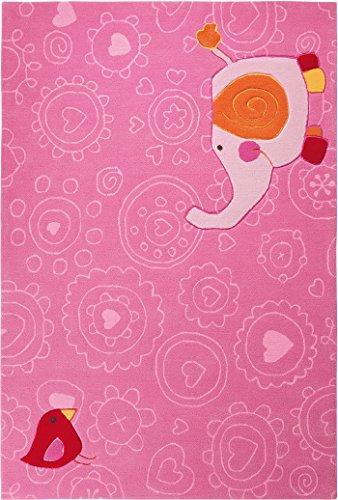 """Preisvergleich Produktbild Sigikid Marken Kinder Teppich, kuschelig und hochwertig mit süßem rosa Elefanten, """"Happy Zoo Elephant"""" (120 x 180 cm)"""