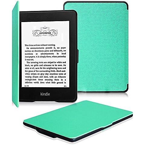 Fintie Kindle Paperwhite Funda - Ultra Slim [Blade X1] Ligera Shell Funda Con Funda Carcasa con Auto-Sueño / Estela Función para Amazon All-New Kindle Paperwhite (2015 300 ppp 3ra Generación / 2014 / 2013 / 2012), Verde Menta