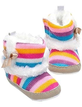 Domybest Baby Winter Warm Fleece erste Wanderer Kleinkind Mädchen Stiefel Anti-Rutsch Rainbow Farbe Schuhe