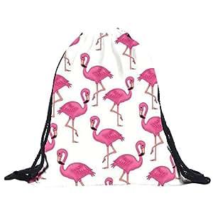 kingko® turnbeutel 39cm * 30cm Polyester Flamingos Kordelzugbeutel 3D Druck Taschen Rucksack (Weiß)