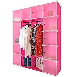 kleiderschrank aus kunststoffboxen regalbauset big in pink regalsystem steckregal. Black Bedroom Furniture Sets. Home Design Ideas