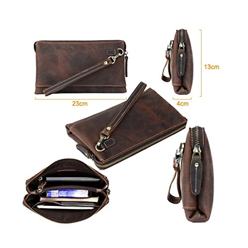 H&W Clutch Leder Unterarmtasche Handgelenktasche Geldbörse Portemonnaie für Herren Braun #20