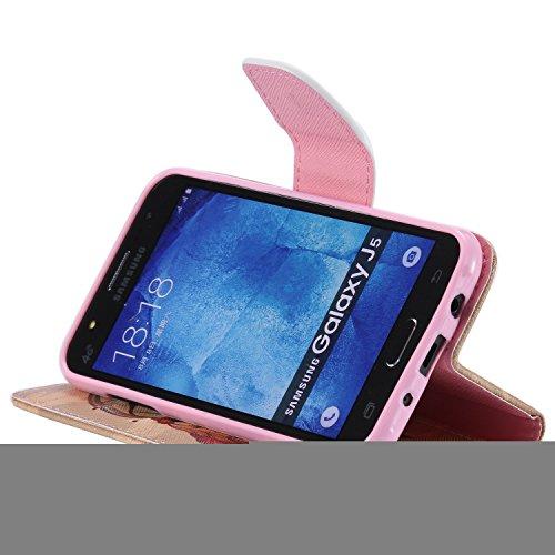 Ooboom® Samsung Galaxy J1 Coque PU Cuir Flip Housse Étui Cover Case Wallet Portefeuille Fonction Support avec Porte-cartes pour Samsung Galaxy J1(2015 Version) - Don't Touch My iPhone Attrapeur de Rêves Marron