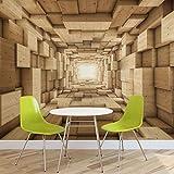 FORWALL Vlies Fototapete Tapete Vliestapete 3D Holztunnel AF3247VEXL (208cm x 146cm) Photo Wallpaper Mural
