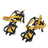 Crampones de tipo correa - TOOGOO(R)Tipo de correa crampones de esqui de la correa de la alta altitud Senderismo Antideslizante 10 Crampon Amarillo+ negro