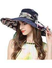 09b3f7b54b02bc RIONA Women's Foldable Floppy Reversible Wide Brim Sun Beach Hat with  Bowknot UPF 50+