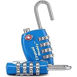 2 x 4 - candado combinación TSA Viaje maleta de equipaje bolsa de bloqueo - azul