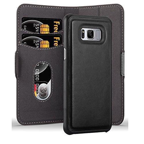 Cadorabo Hülle für Samsung Galaxy S8 - Hülle in KOHLEN SCHWARZ - Handyhülle im 2-in-1 Design mit Standfunktion und Kartenfach - Hard Case Book Etui Schutzhülle Tasche Cover