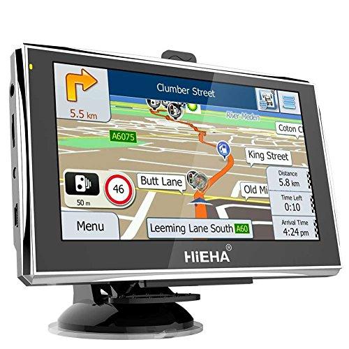 Hieha 5' Zoll 8GB Navi Navigation Navigationsgerät GPS Navigationssystem LKW PKW Auto Europe Traffic mit Fahrspurassistent Blitzerwarnungen EU UK 2017 Karte Lebenslange Kartenupdates