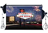 Sunny Star 7X5FT/210X150cm Vinyl Photography Backdrop Welcome to Las Vegas Fancy Fireplace Night View Backdrops Seamless Kids Girl Adults Holiday Background Photo Studio Props CA497