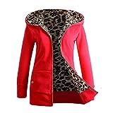 Abrigos de otoño Invierno, Dragon868 Mujeres más Terciopelo Grueso Encapuchado Chaqueta de Leopardo con Cremallera Abrigos Rojo L