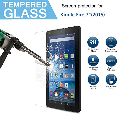 "Kindle Fire 7 2015 Tempered Glass Screen Protector,0.3mm [Ultra-Clear] 9H Hardness HD Clear Tempered Glass Screen Protector for or Amazon Fire 7 Tablet (will only fit Fire 7"" Display 5th Generation - 2015 release) Test"