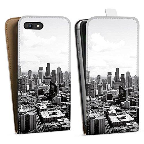 Apple iPhone 7 Silikon Hülle Case Schutzhülle City Stadt Skyline Downflip Tasche weiß