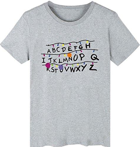 SERAPHY Unisex Stranger Things Camiseta Summer t Shirt Stranger Things Camiseta Hombres Hip Hop Camiseta Gris-1 XS