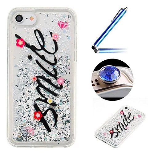 """iPhone 6S Plus Glitter Case,iPhone 6 Plus Clear Case,Etsue Creative Funny Smile Flowing Glitter Sparkle Love Hearts Design Soft Crystal Tribal Sand Clear Transparent Silicone Tpu Rubber Case Cover for iPhone 6 Plus/6S Plus 5.5""""+Blue Stylus Pen+Bling Glitter Diamond Dust Plug(Colors Random)-Smile"""