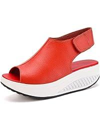 Bdawin Shape Ups Mujer Cuero Confort Peep Toe Cuña Sandalias Plataforma Tacón Zapatos Para Caminar