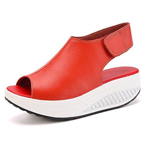 Bdawin Donna Pelle Comfort Peep Toe Sandali Zeppa Heeled Scarpe Camminare Piattaforma (EU37, Rosso)