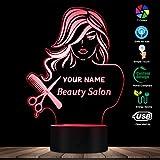 Veilleuse Salon De Beauté Fashion Lady Led Illusion Veilleuse Barbier Coiffeur Coiffure Peigne Peigne Lampe De Table Personnalisée Votre Nom...
