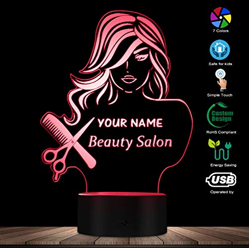 Night Light Beauty Salon Fashion Lady Led Illusion Night Light Barber Shop Hairdresser Scissor Comb Table Lamp Custom Your Name Night Lights Shop