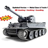 RC german tiger Tank METAL TRACKS smoke 1/16 BB shoot --- Upgrade Version !