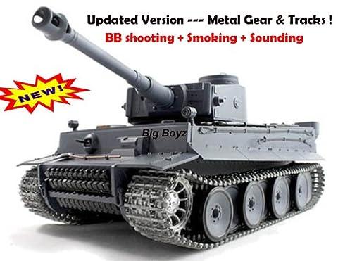 RC german tiger Tank METAL TRACKS smoke 1/16 BB shoot --- Upgrade Version !