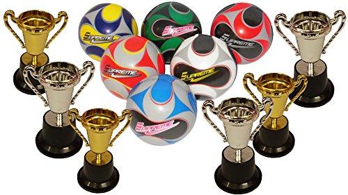 KSS 6 x Wurfball + 6 x Pokal Gold/Silber Springball Hüpfball Kindergeburtstag Mitbringsel Mitgebsel Tombola