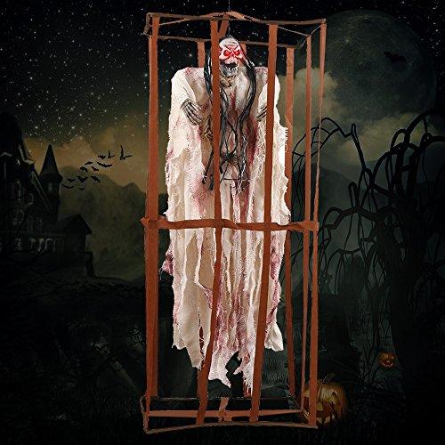 miuline Halloween Deko Geist im Käfig mit Bewegungen Blinkenden Augen und Schaurigem Sound Ketten Zum Aufhängen für Halloween Party Deko (Weiß)