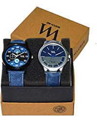 WM Stylish Quartz Analog Watches Leather Multicolor Combo For Men And Boys AWC-007-AWC-006aeons