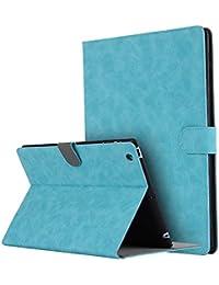 Thrion Cuero Premium Función de Soporte Protectora Plegable Smart Cover [Auto-Desbloquear] [Botones Protegidos] Funda para Apple iPad 2/3/4 - Azul Claro (Auto Sueño/Estela)