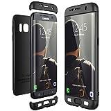 CE-Link Funda para Samsung Galaxy S7 Edge Rigida 360 Grados Integral, Carcasa S7 Edge Silicona Snap On Diseño Antigolpes Choque Absorción, Samsung S7 Edge Case Bumper 3 en 1 Estructura - Negro