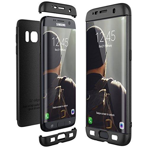 galaxy s 7 edge huelle CE-Link für Samsung Galaxy S7 Edge Hülle Hardcase 3 in 1 Ultra Dünn 360 Full Body Schutz Schutzhülle Anti-Kratzer Elegant Stoßfest Hart PC Skin Rückdeckel Glatte Rückseite Bumper Handyhülle - Schwarz
