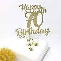 Happy 70th Birthday Cake Topper. Gold Shinny Cake Topper. Birthday Decoration