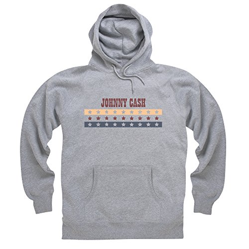 Official Johnny Cash Felpa con cappuccio Stars And Stripes, Uomo, Grigio mélange, XL