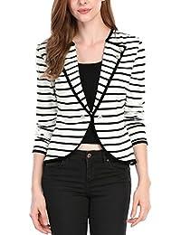 Allegra K Women's Notched Lapel Button Decor Striped Blazer
