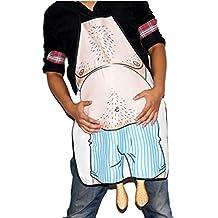 UEETEK Cocina cocina delantal novedad vientre loco hombre impreso delantal para cocinar barbacoa parrilla